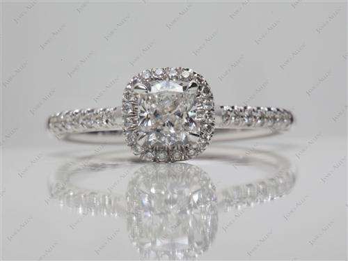White Gold 0.58 Cushion cut Pave Engagement Ring