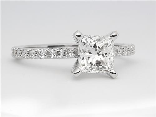 White Gold 1.20 Princess cut Side Stone Engagement Rings