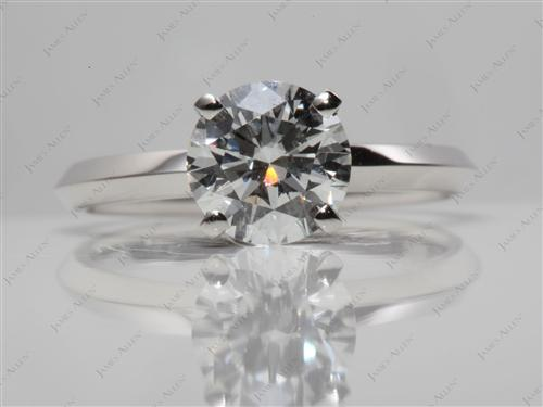 Platinum 1.30 Round cut Solitaire Diamond Ring