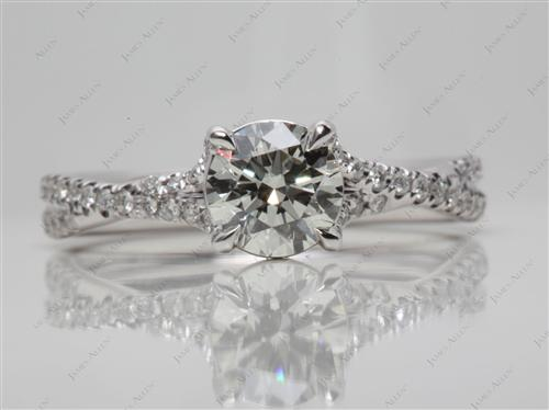 White Gold 0.90 Round cut Micro Pave Ring