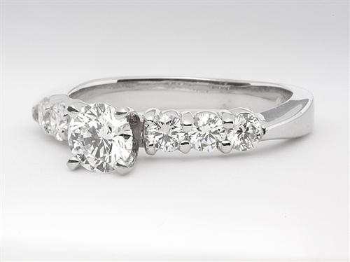White Gold 0.43 Round cut Sidestone Engagement Ring