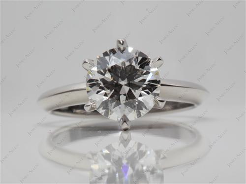 Platinum 1.67 Round cut Solitaire Diamond Ring