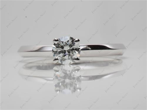 White Gold 0.43 Round cut Engagement Ring