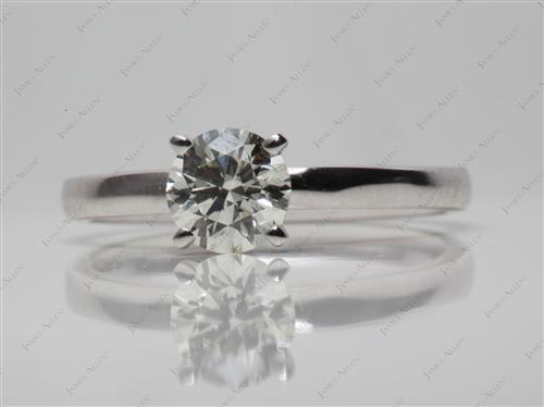 White Gold 0.76 Round cut Solitaire Engagement Rings