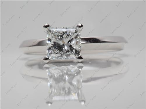 White Gold 1.18 Princess cut Diamond Engagement Solitaire Rings