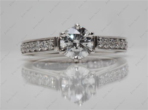 Platinum 0.70 Round cut Pave Diamond Ring