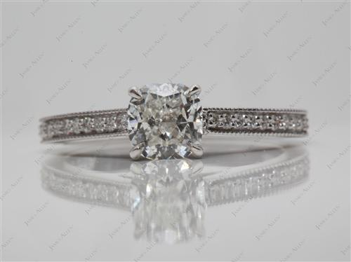 White Gold 1.21 Cushion cut Pave Engagement Ring