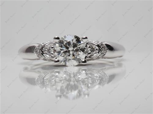 White Gold 0.73 Round cut Diamond Pave Rings