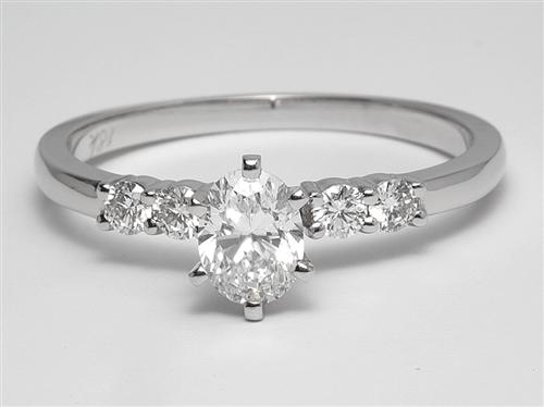 White Gold 0.55 Oval cut Engagement Ring With Sidestones