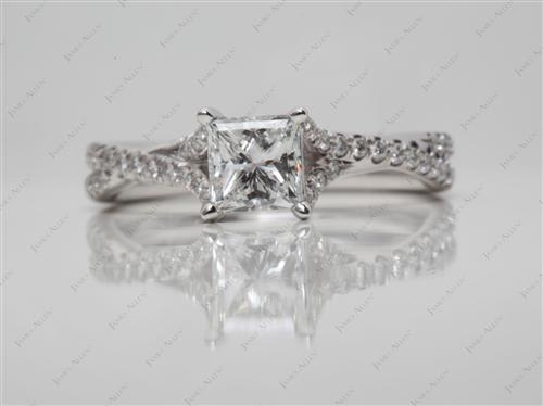 White Gold 0.70 Princess cut Pave Rings