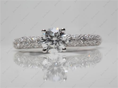 White Gold 0.90 Round cut Pave Diamond Rings