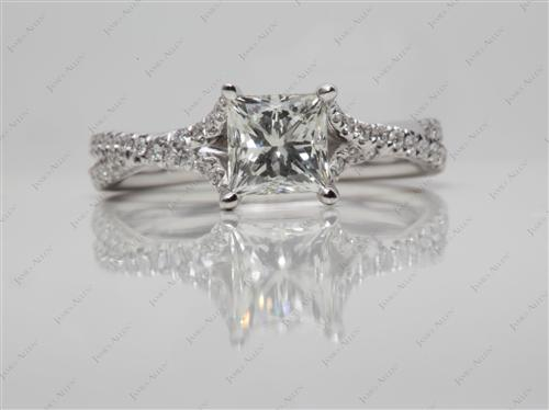White Gold 1.05 Princess cut Pave Ring Settings