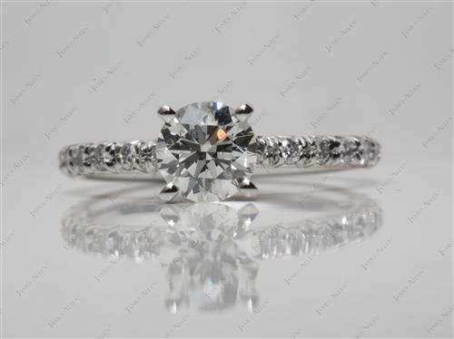Platinum 0.91 Round cut Engagement Ring Micro Pave