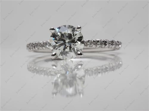 White Gold 1.07 Round cut Pave Ring Mountings