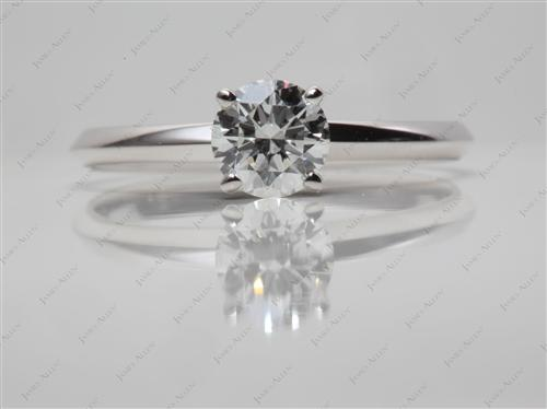 White Gold 0.80 Round cut Engagement Ring