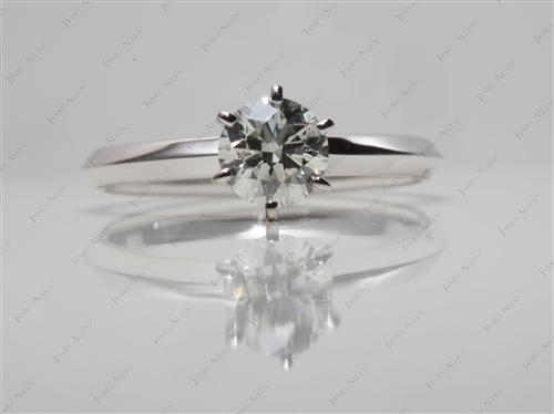 White Gold  Round Solitaire Ring