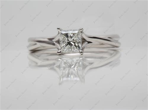 Platinum 0.84 Princess cut Diamond Rings