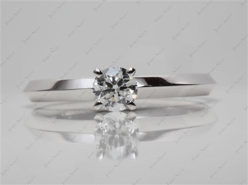 White Gold 0.50 Round cut Solitaire Ring Setting