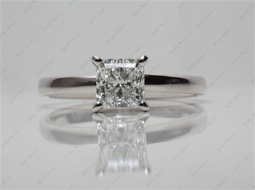 Platinum 0.95 Princess cut Diamond Engagement Solitaire Rings