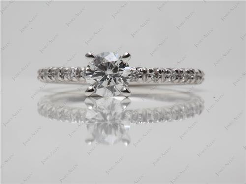 White Gold 0.40 Round cut Micro Pave Ring