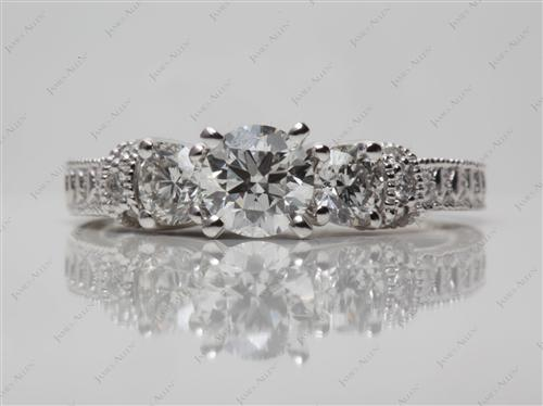 Platinum 0.60 Round cut Engagement Rings Side Stones