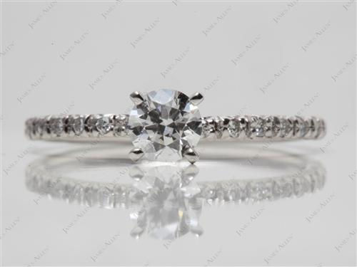 Platinum 0.46 Round cut Pave Ring