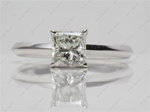 White Gold 0.90 Princess cut Solitaire Diamond Rings