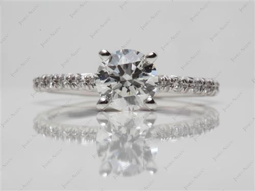 White Gold 0.81 Round cut Micro Pave Rings