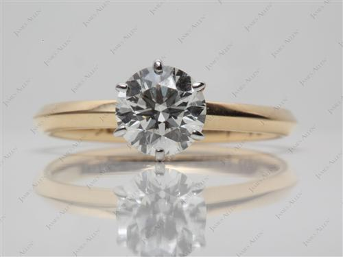 Gold 1.02 Round cut Engagement Rings