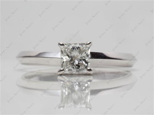 White Gold 0.50 Princess cut Solitaire Engagement Rings