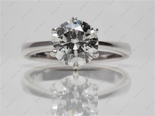 White Gold 1.71 Round cut Diamond Solitaire Ring Settings