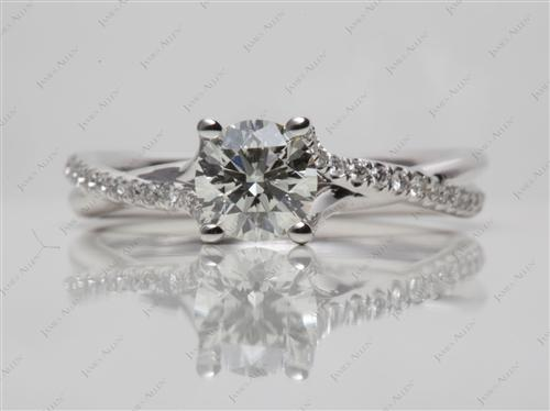 White Gold 0.70 Round cut Pave Diamond Engagement Rings