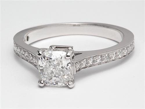 White Gold 0.90 Cushion cut Diamond Pave Rings