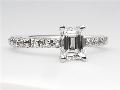 White Gold 1.00 Emerald cut Engagement Rings Pave