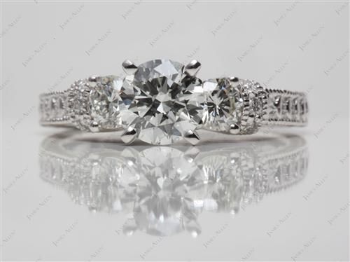Platinum 1.05 Round cut Diamond Ring With Sidestones