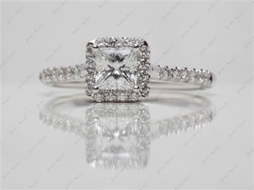 White Gold 0.51 Princess cut Engagement Rings