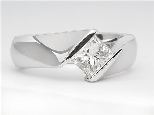 White Gold 0.95 Princess cut Diamond Ring