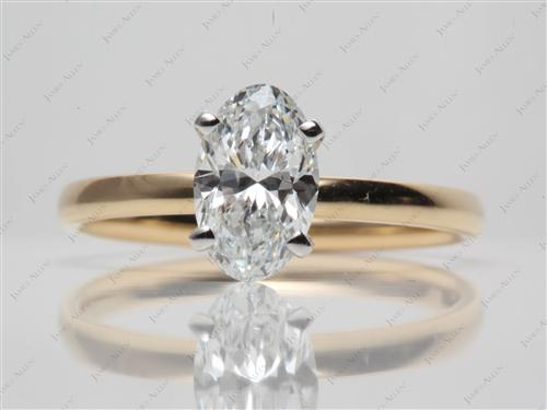 Gold 1.54 Oval cut Diamond Rings