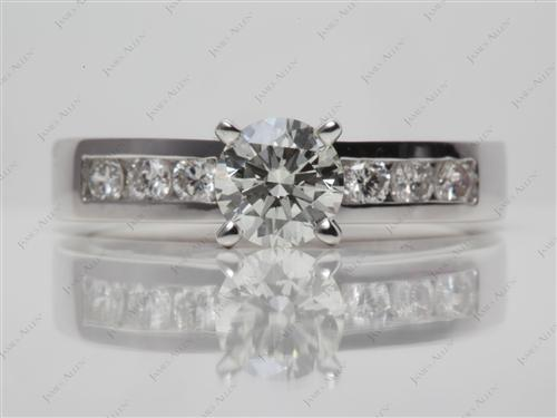 White Gold 0.73 Round cut Diamond Channel Ring