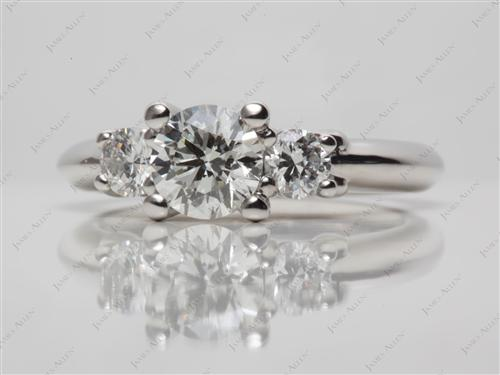 Platinum  Ring With Side Stones
