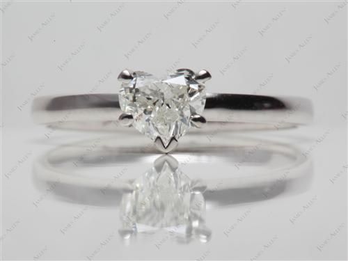 White Gold 0.71 Heart shaped Round Solitaire Ring
