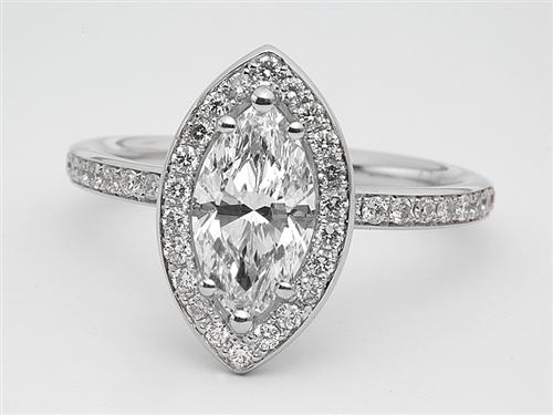 White Gold 1.12 Marquise cut Micro Pave Diamond Ring