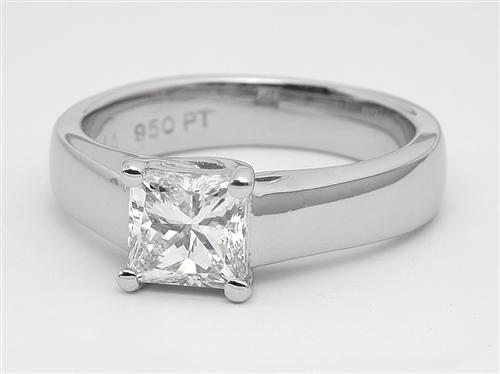 Platinum 1.00 Princess cut Diamond Engagement Solitaire Rings