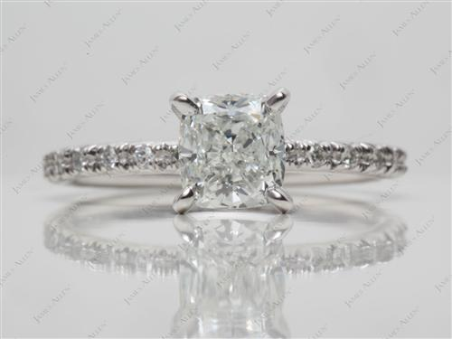 Platinum 1.20 Cushion cut Diamond Ring