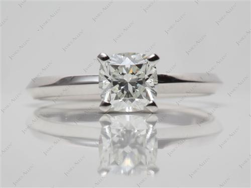White Gold 0.78 Cushion cut Diamond Solitaire Ring Settings