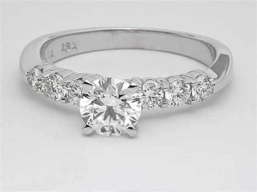 White Gold 0.72 Round cut Side Stone Engagement Rings