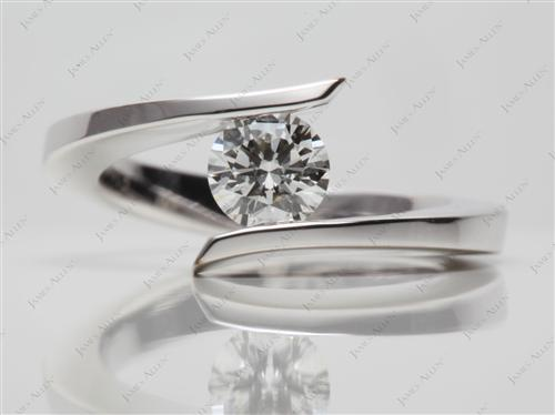 White Gold 0.50 Round cut Tension Diamond Rings