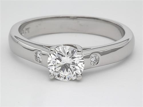 Platinum 0.92 Round cut Engagement Rings