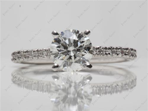 White Gold 1.10 Round cut Pave Ring