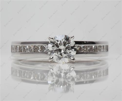 White Gold 0.90 Round cut Channel Setting Engagement Rings
